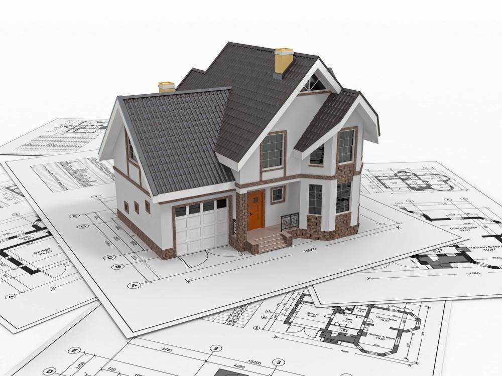 Ngôi nhà nằm trên bản vẽ thiết kế nhà