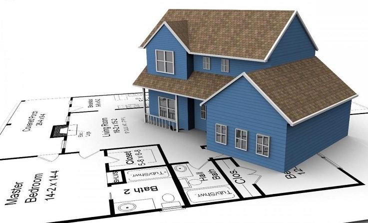 Ngôi nhà nằm trên bản vẽ thiết kế