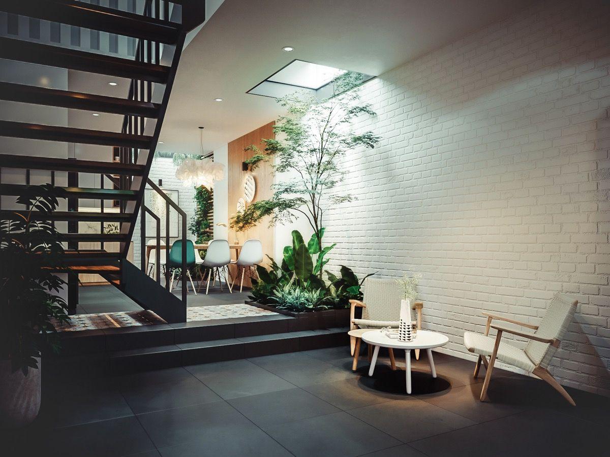 thiết kế giếng trời trong nhà