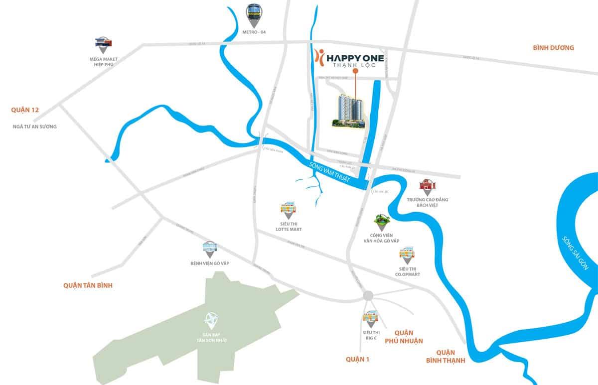Vị trí dự án Chung cư Happy One Thạnh Lộc trên bản đồ
