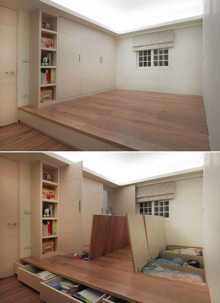 Thiết kế sàn nâng giấu không gian lưu trữ bên dưới