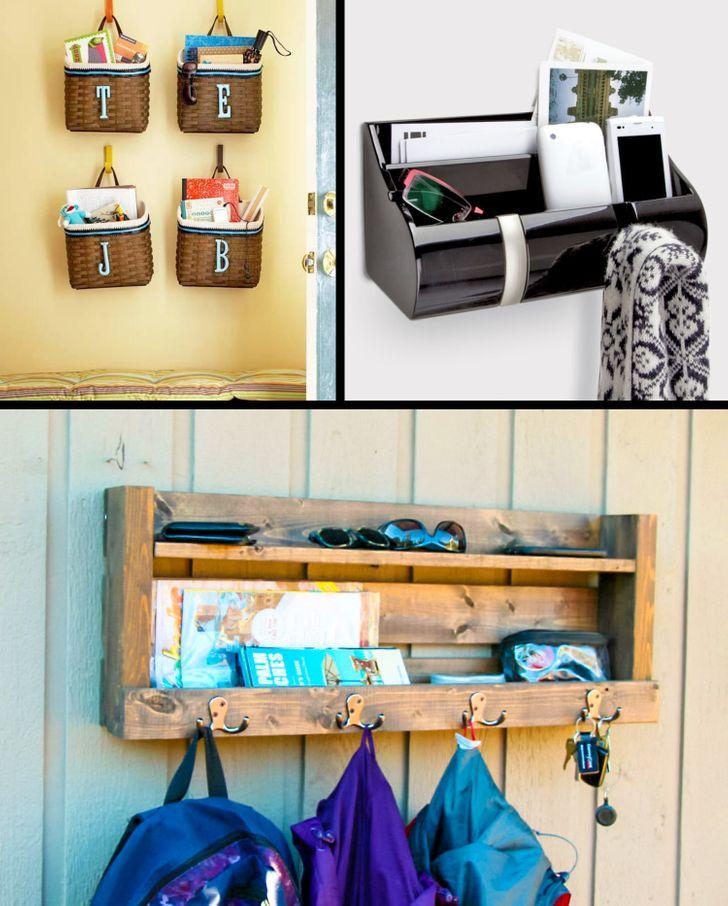 Giỏ và móc treo đơn giản giữ đồ dùng lặt vặt