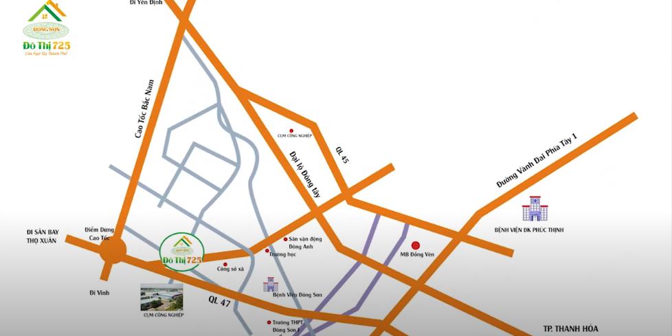 Vị trí dự án Khu đô thị 725 Đông Sơn trên bản đồ