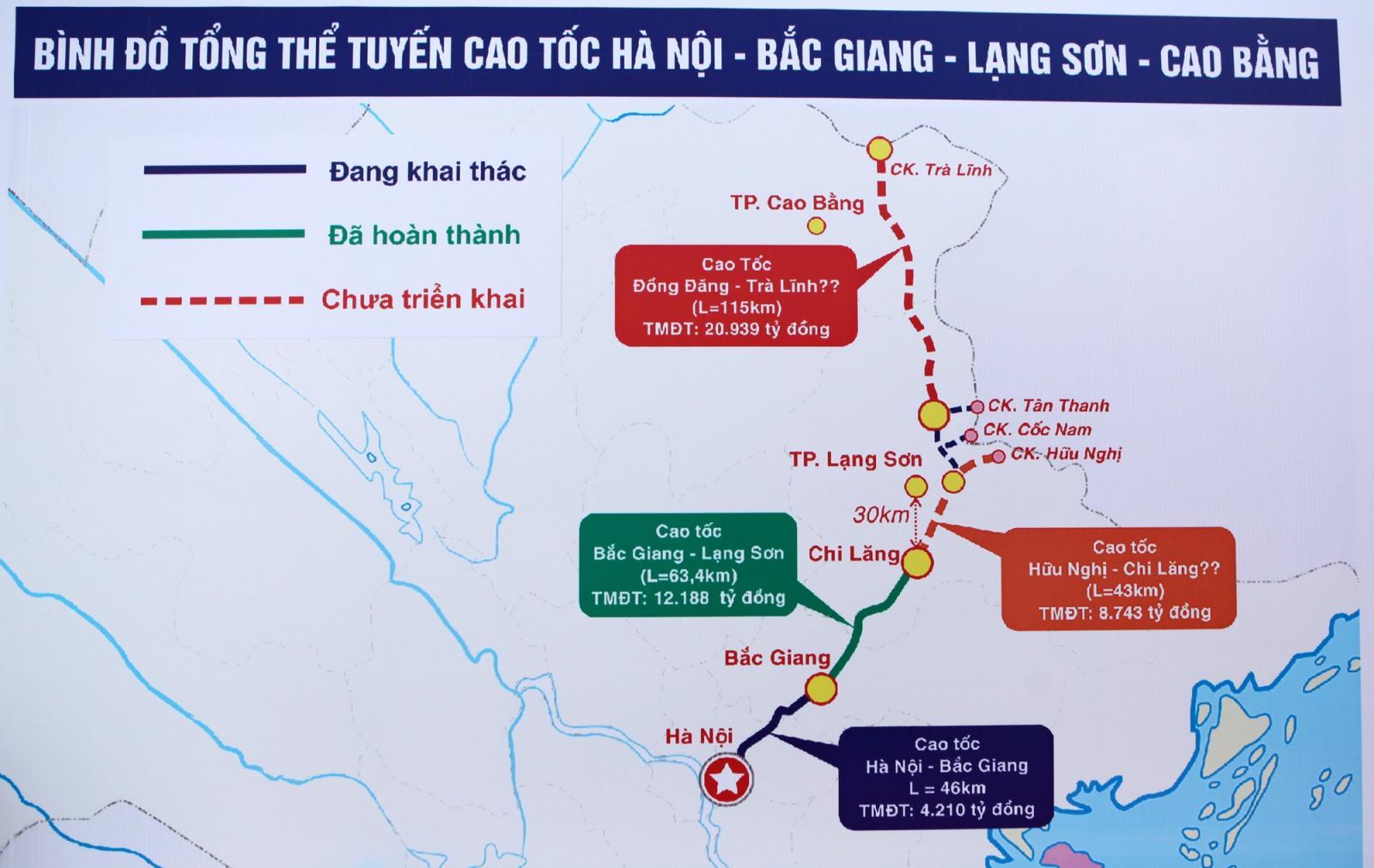 bản đồ tuyến cao tốc Lạng Sơn - Cao Bằng