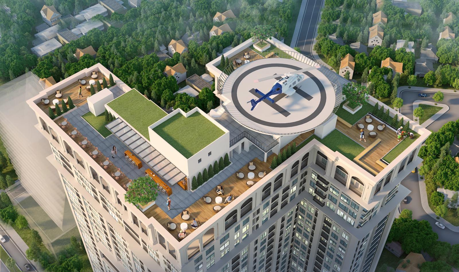 Sân trực thăng trên tầng thượng