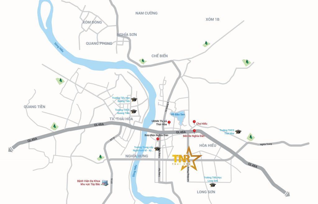 Vị trí dự án TNR Stars Thái Hòa trên bản đồ