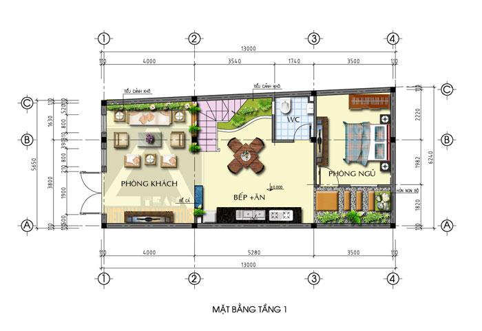 bản vẽ thiết kế tầng 1 nhà nở hậu