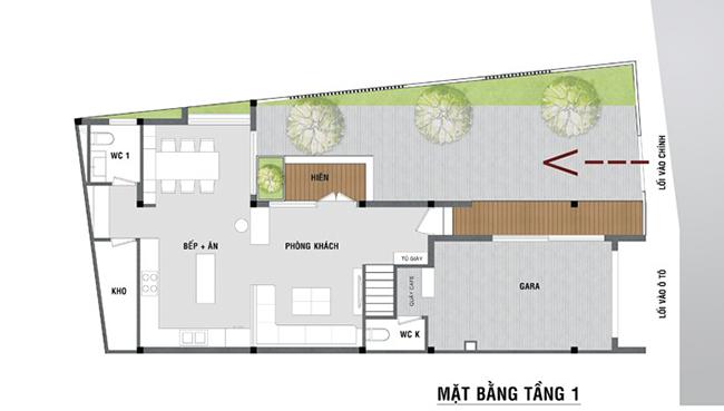 Bản mẫu thiết kế tầng 1 nhà thóp hậu