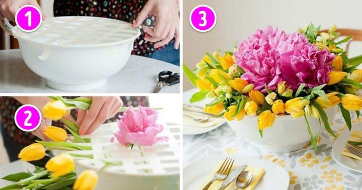 Cách cắm hoa trong bát súp