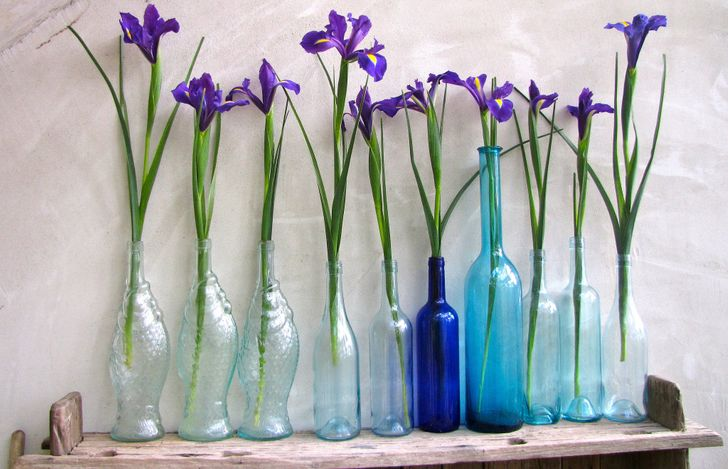 Cắm hoa trong chai thủy tinh cũ