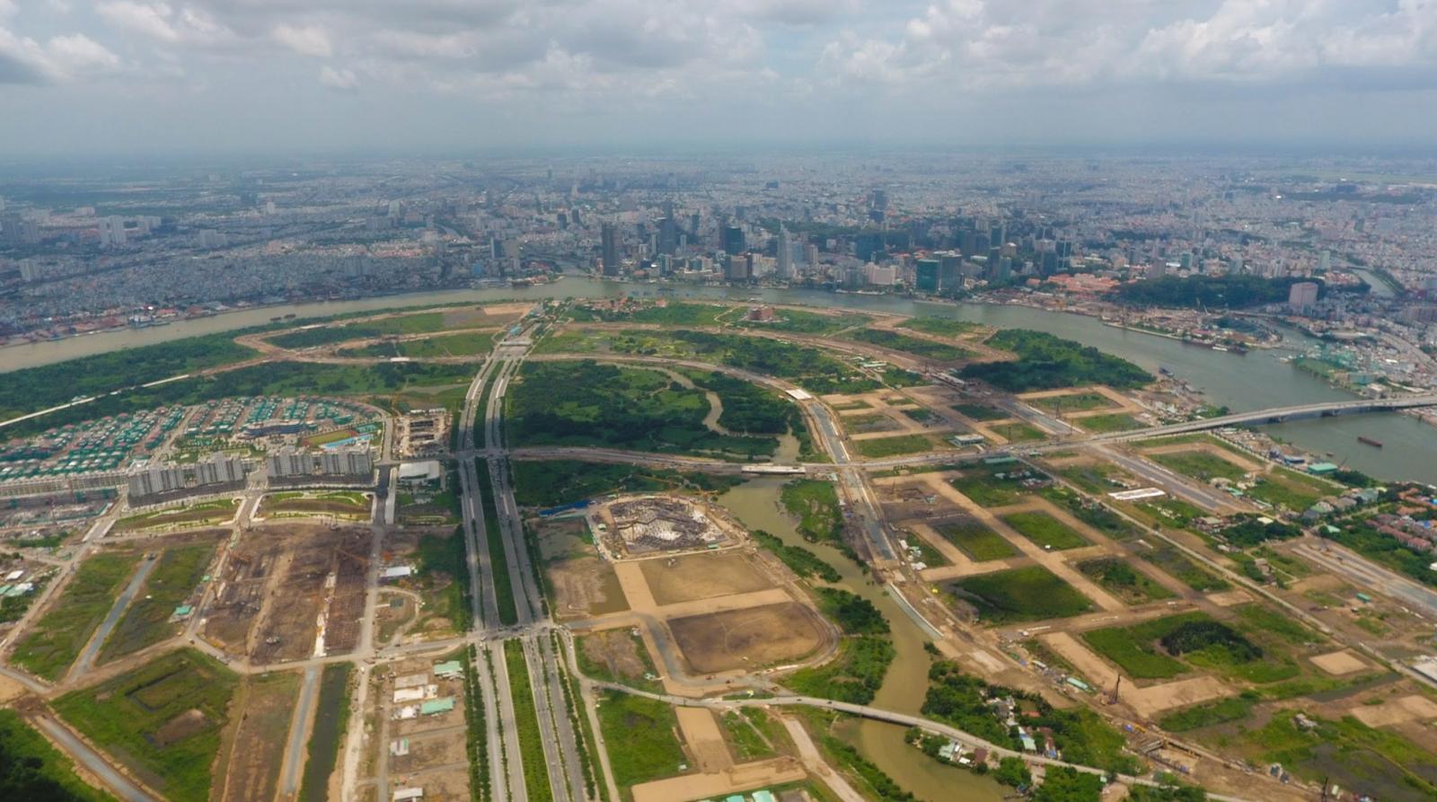 một góc Khu đô thị mới Thủ Thiêm nhìn từ trên cao