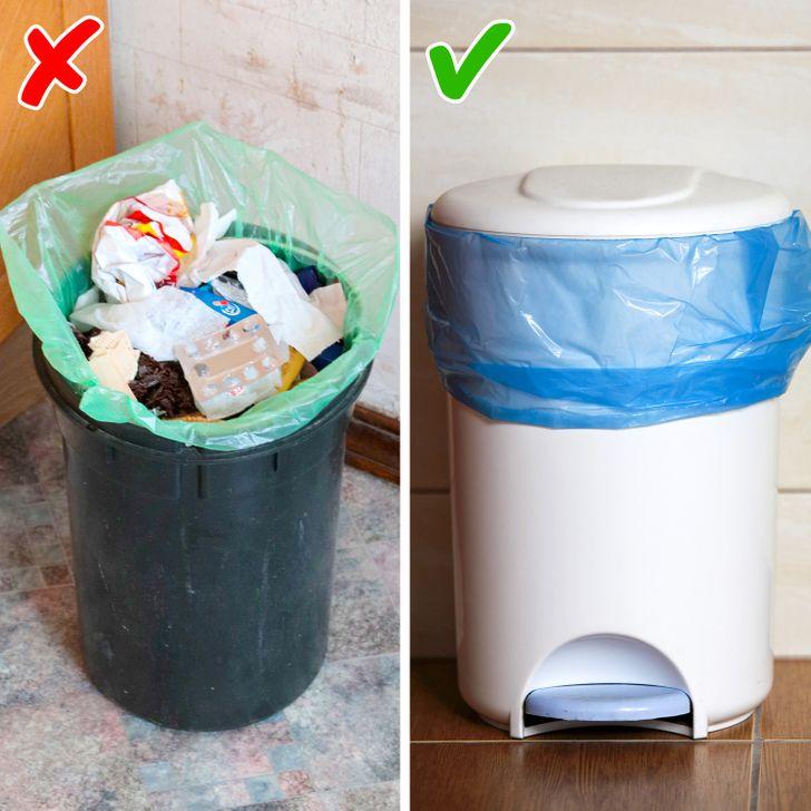 Thùng rác trong nhà nên có nắp đậy để ngăn mùi