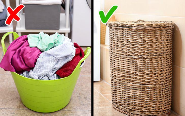 Nên chọn loại giỏ kín, có nắp đậy để đựng quần áo cần giặt