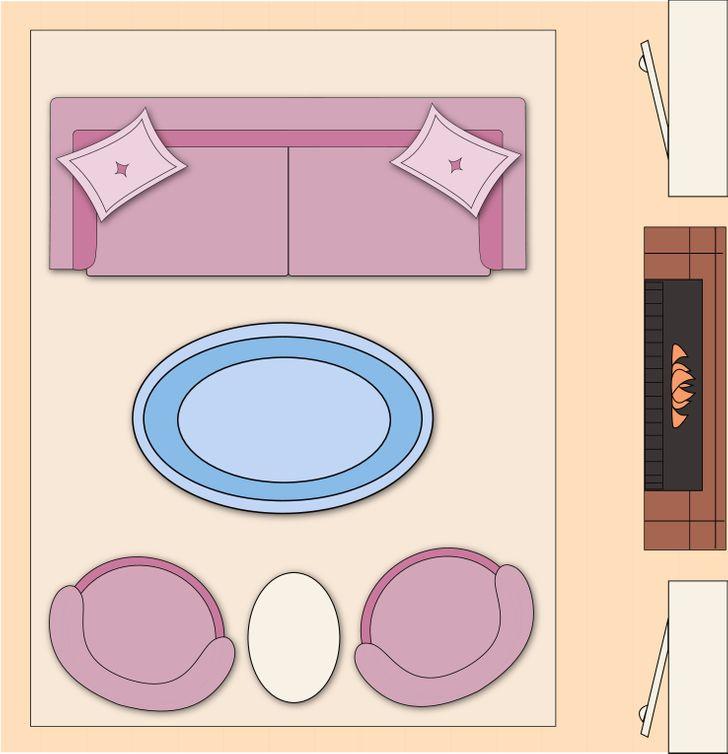 Sắp xếp nội thất phòng khách theo bố cục cân bằng