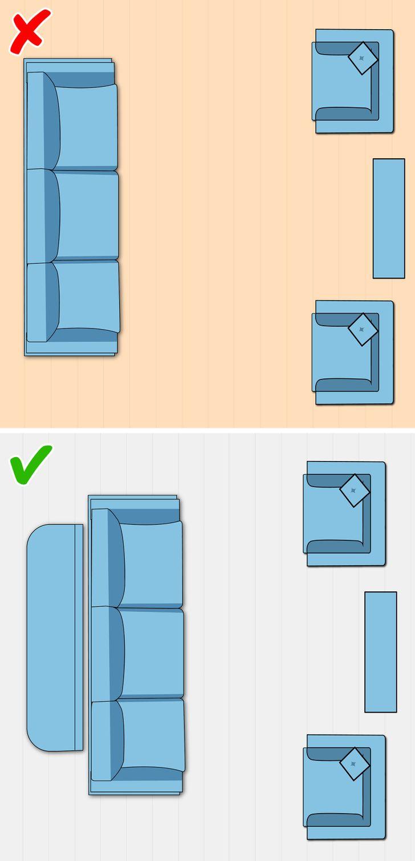 Không kê nội thất sát tường cũng là cách nới rộng không gian phòng khách nhỏ