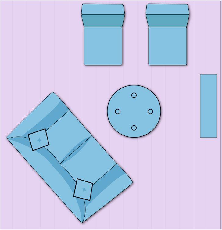 Bố trí nội thất dạng đường chéo