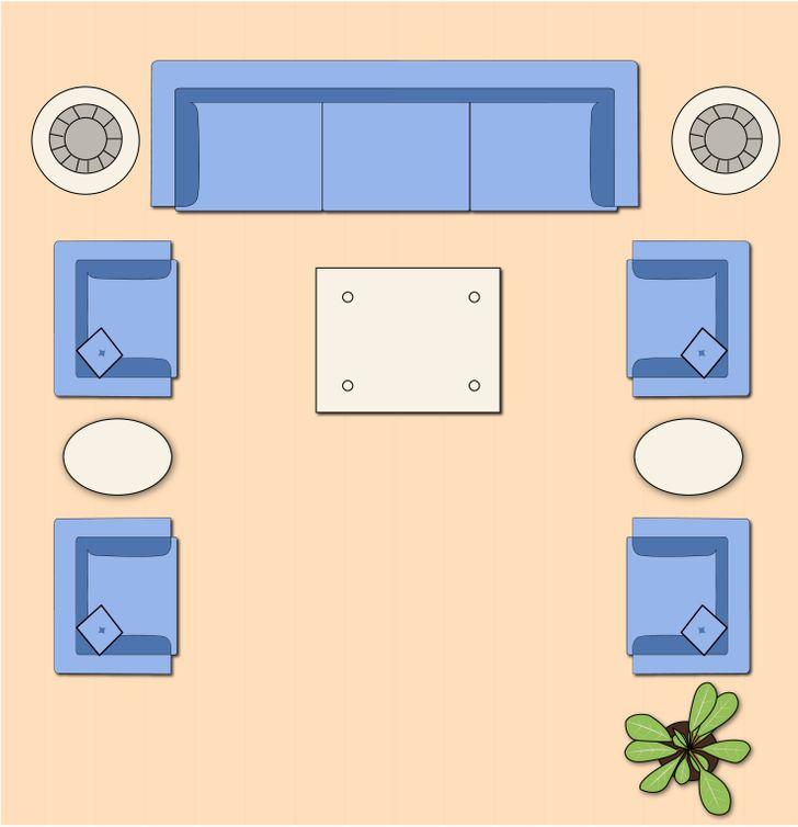 Sắp xếp nội thất phòng khách theo bố cục chữ U