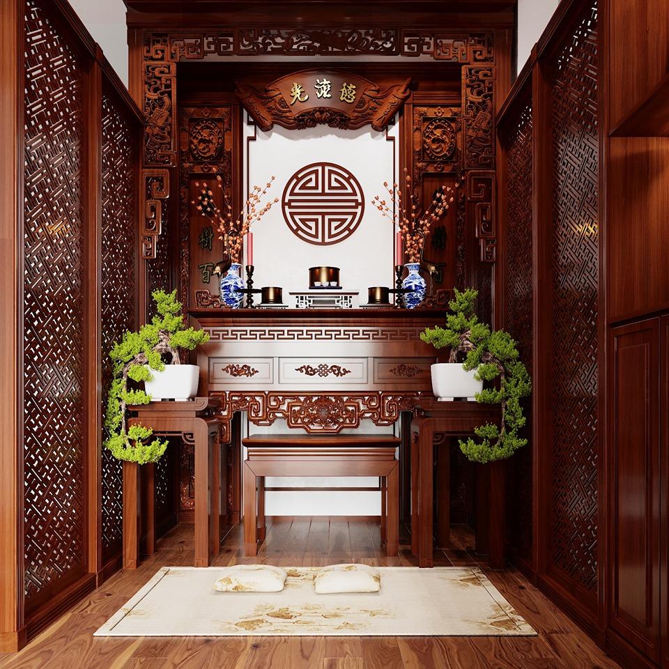 Phòng thờ trang nghiêm với các tông màu trầm của gỗ.