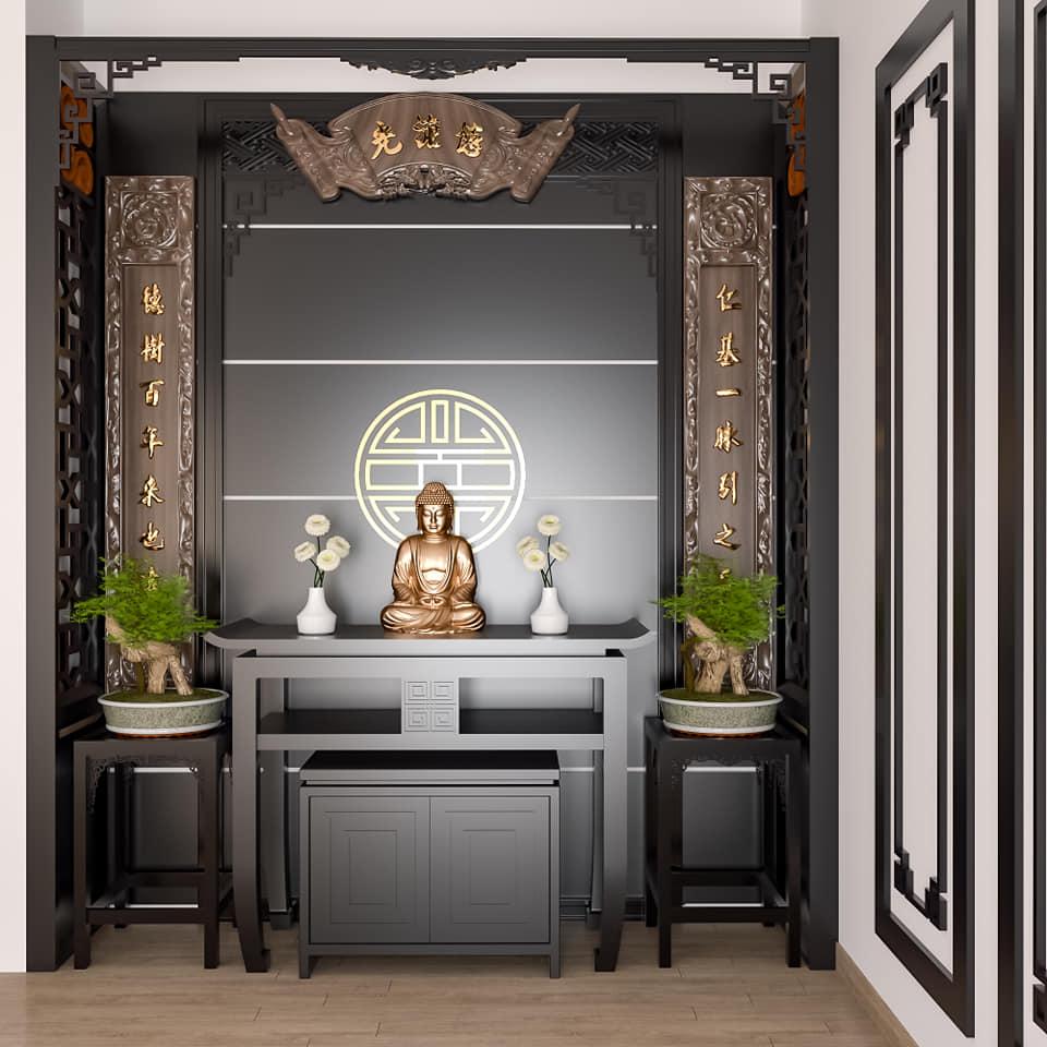 Mẫu phòng thờ Phật với thiết kế đơn giản, tinh tế