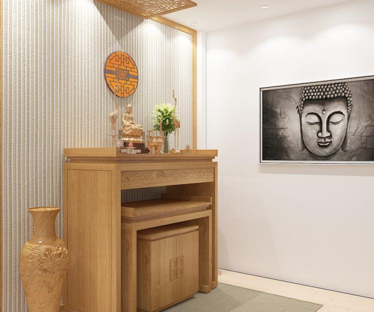 Bàn thờ Phật và tranh treo tường cùng chủ đề
