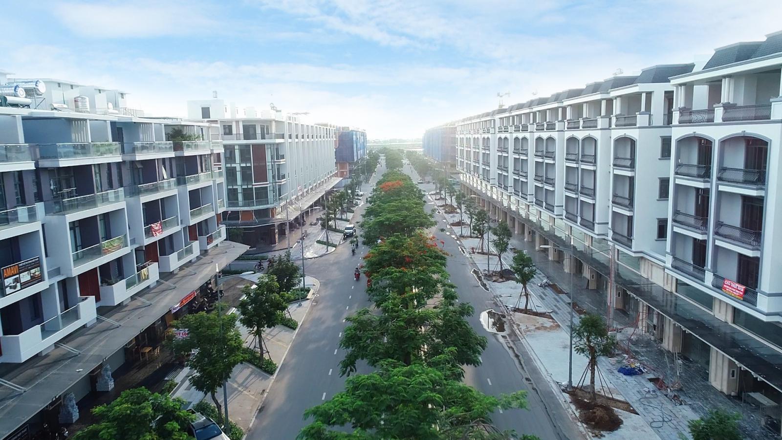 dãy nhà phố thương mại trong khu đô thị