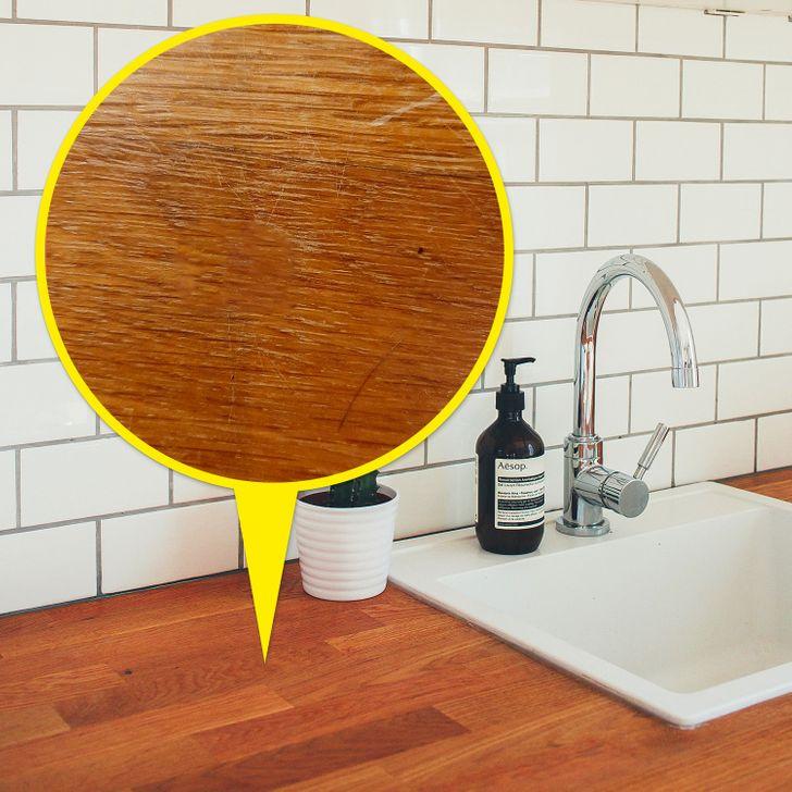 Bàn bếp gỗ tự nhiên