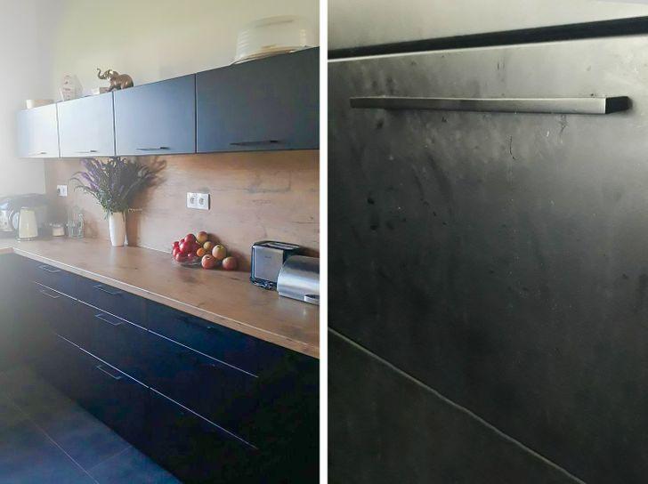 Nội thất bếp màu đen mờ
