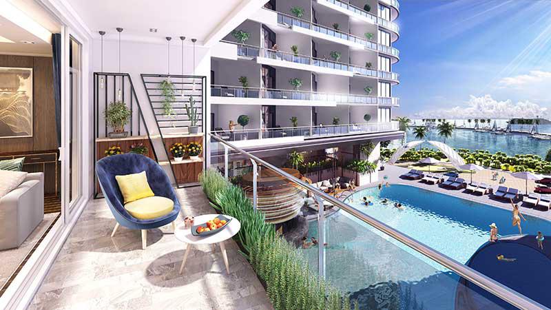 bất động sản nghỉ dưỡng có hồ bơi phía trước