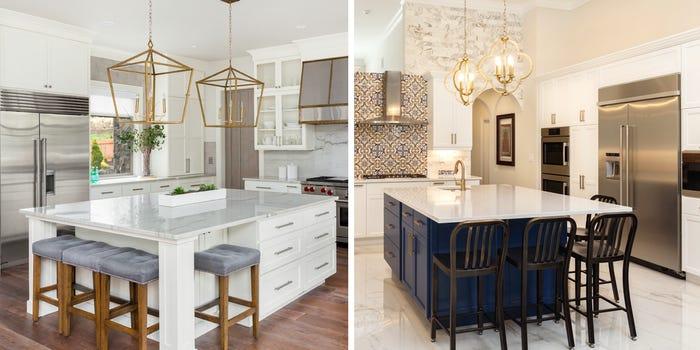 Bếp toàn màu trắng dễ tạo cảm giác trống trải