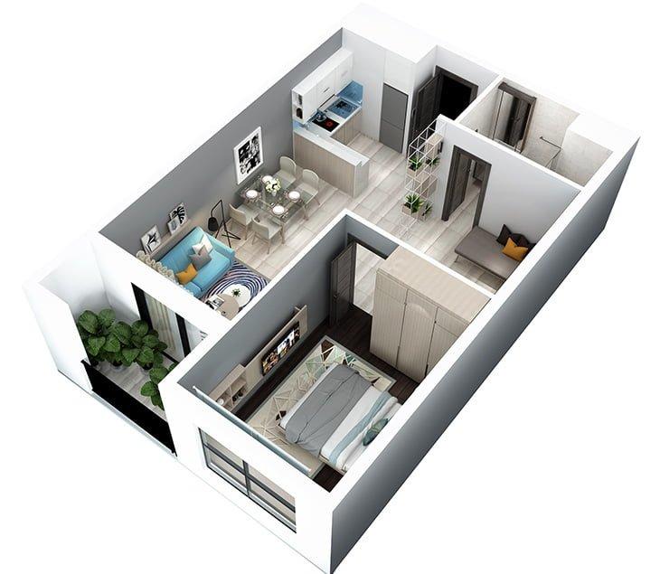 bản vẽ 3d căn hộ 1PN + 1