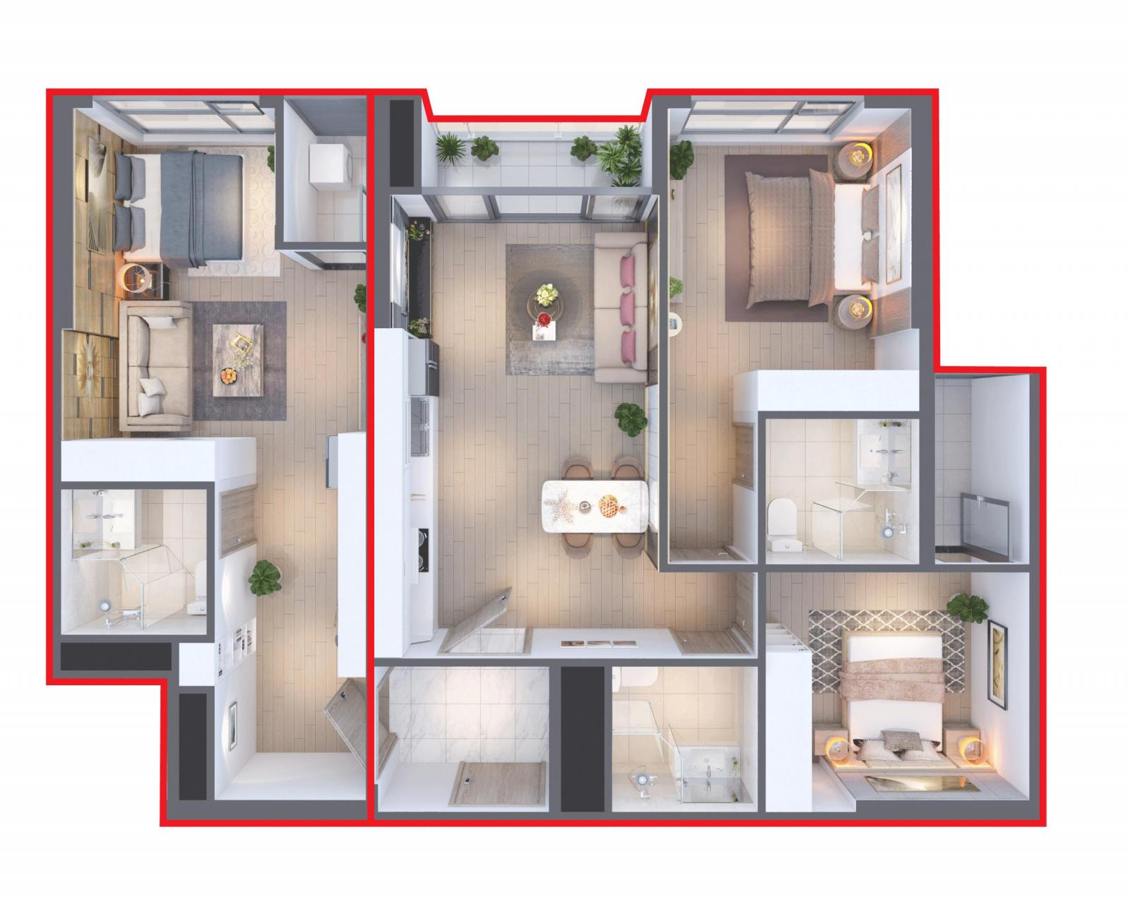 Thiết kế mặt bằng căn hộ Dual Key