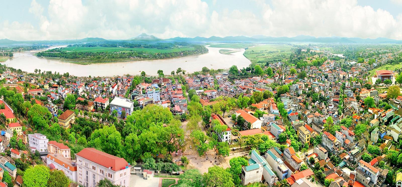 một góc tỉnh Phú Thọ với nhiều nhà ở nhìn từ trên cao