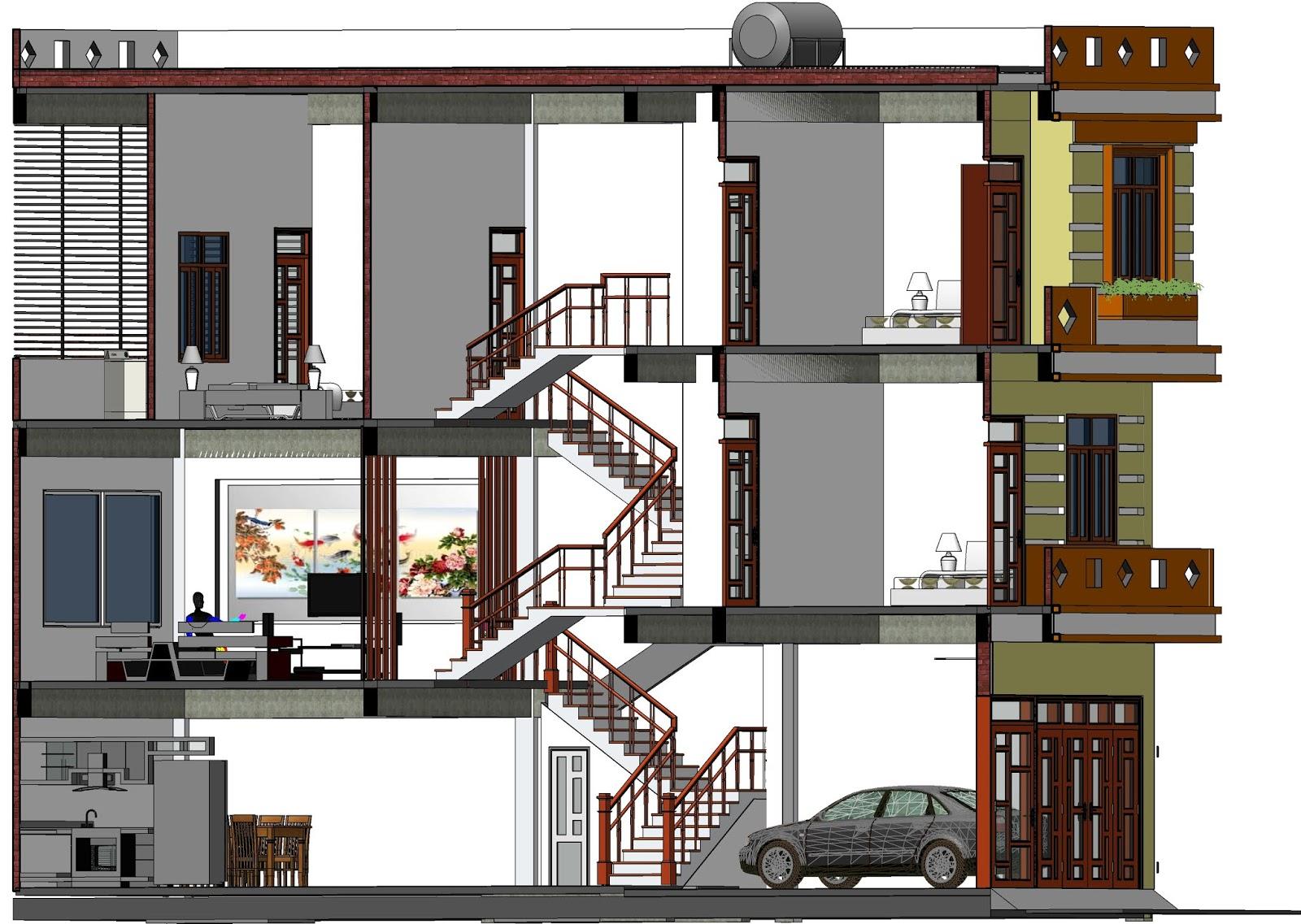 Mô hình thiết kế nhà lệch tầng