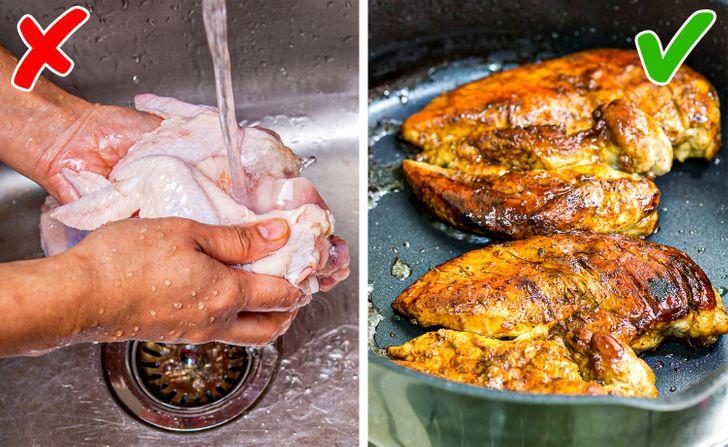 Không nên rửa thịt trước khi nấu