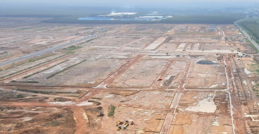 khu tái định cư gồm nhiều lô đất nhìn từ trên cao