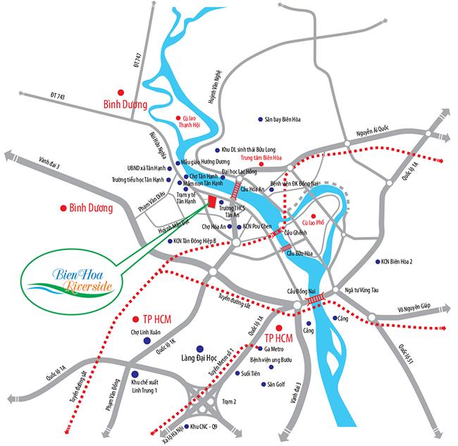 Vị trí dự án Biên Hòa Riverside