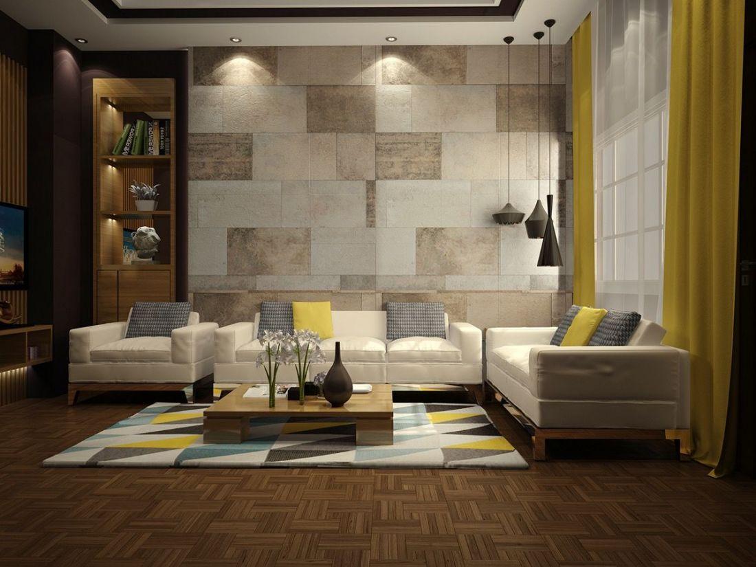 Một mẫu phòng khách khác sử dụng gạch có gam màu trung tính