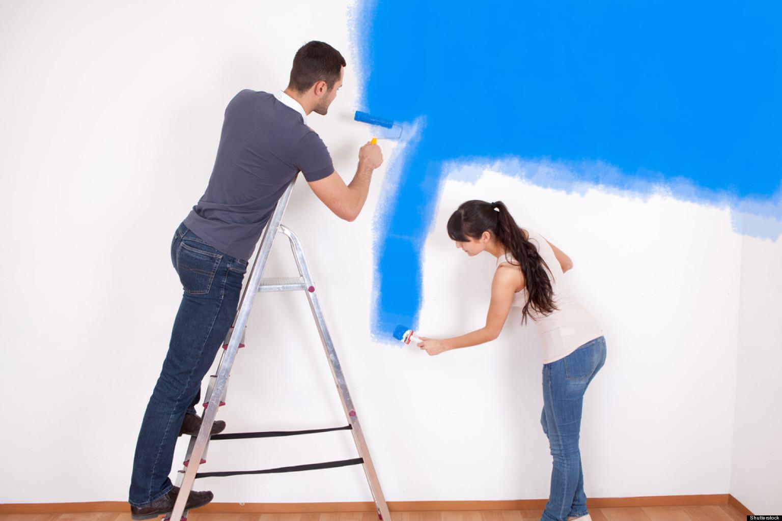 Sử dụng cọ và cọ lăn sơn tường