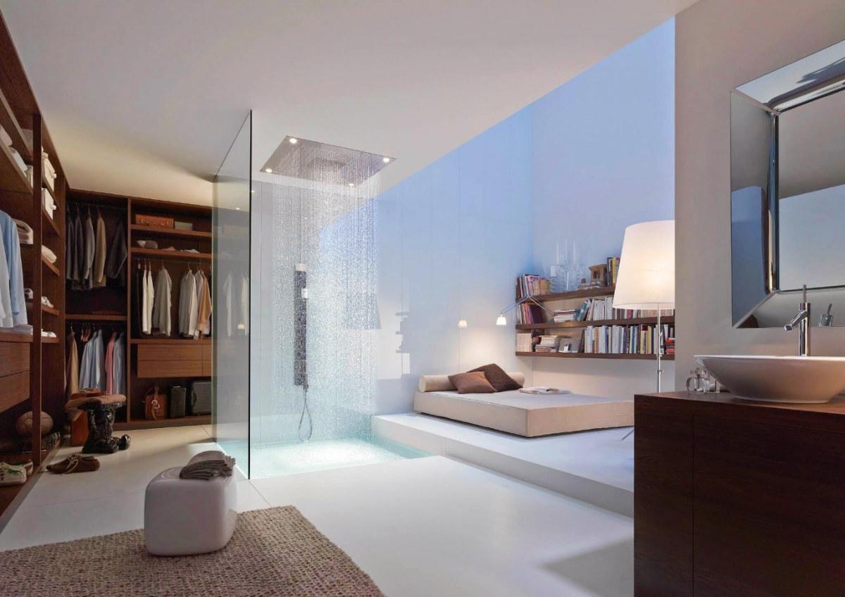 Phá bỏ ranh giới với phòng tắm độc đáo, không có tường ngăn, đặt ngay bên trong phòng ngủ lớn.