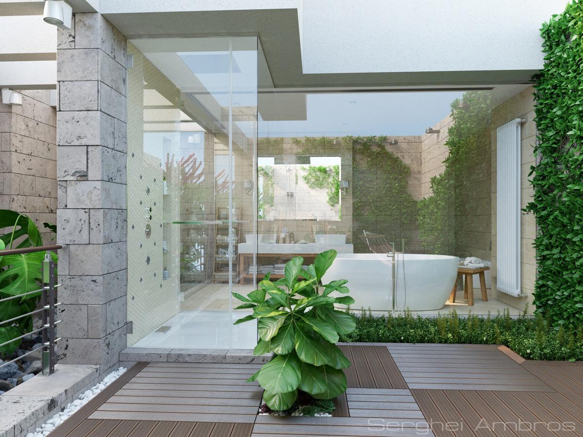 Thiết kế phòng tắm độc đáo trên sân thượng