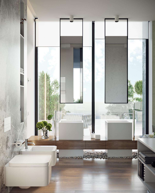 Ý tưởng thiết kế phòng tắm sang chảnh, không tì vết cho những ai yêu màu trắng.