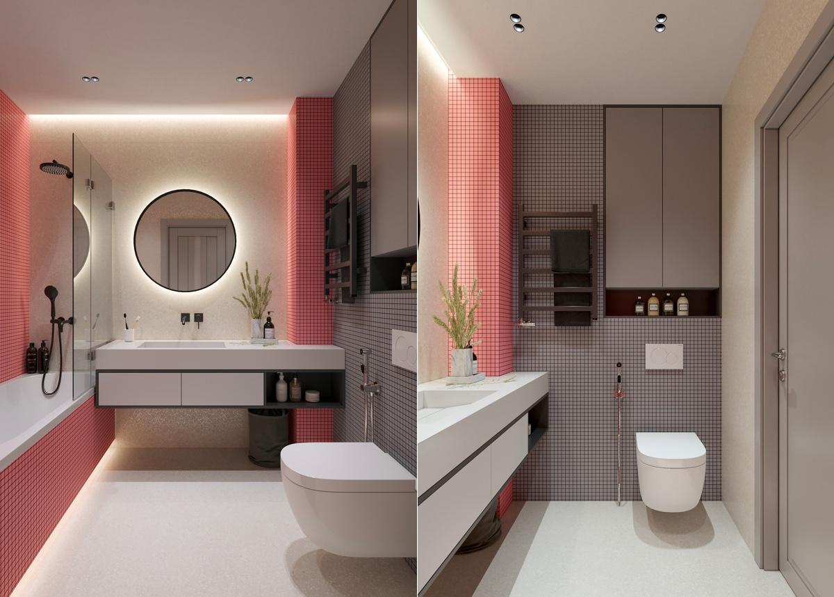 Thiết kế gạch kẻ ô nhỏ, sử dụng màu sắc tương phản giúp đánh lừa thị giác, khiến không gian phòng tắm trông có vẻ rộng hơn thực tế.