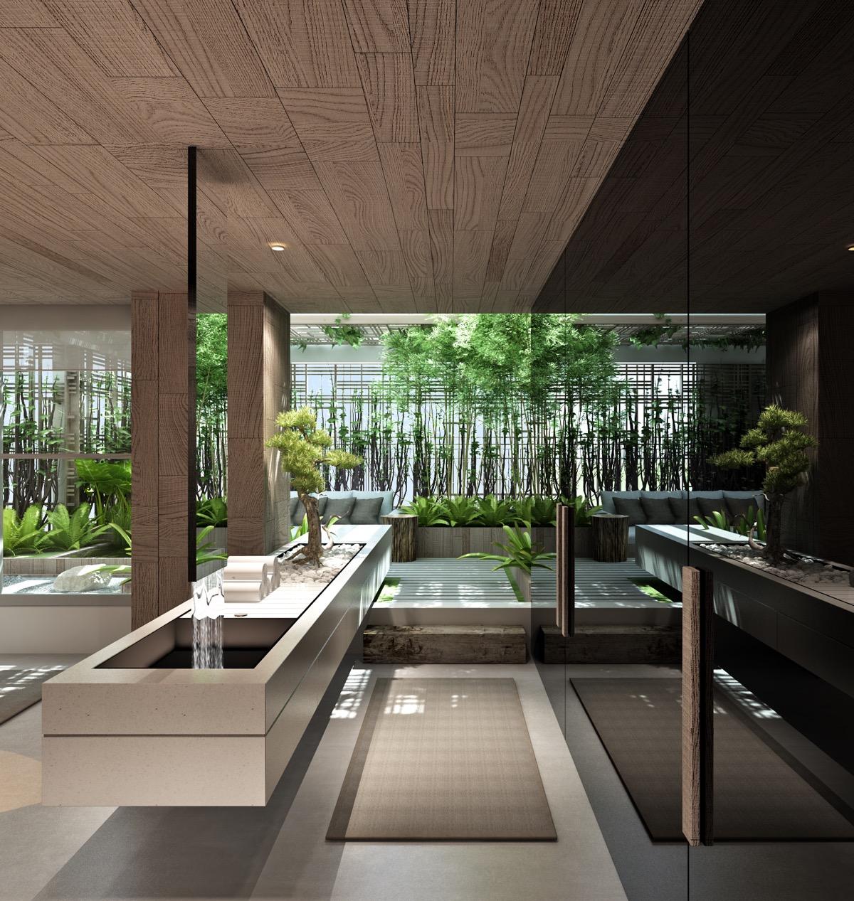 Phòng tắm đẹp như một khu vườn xanh tươi