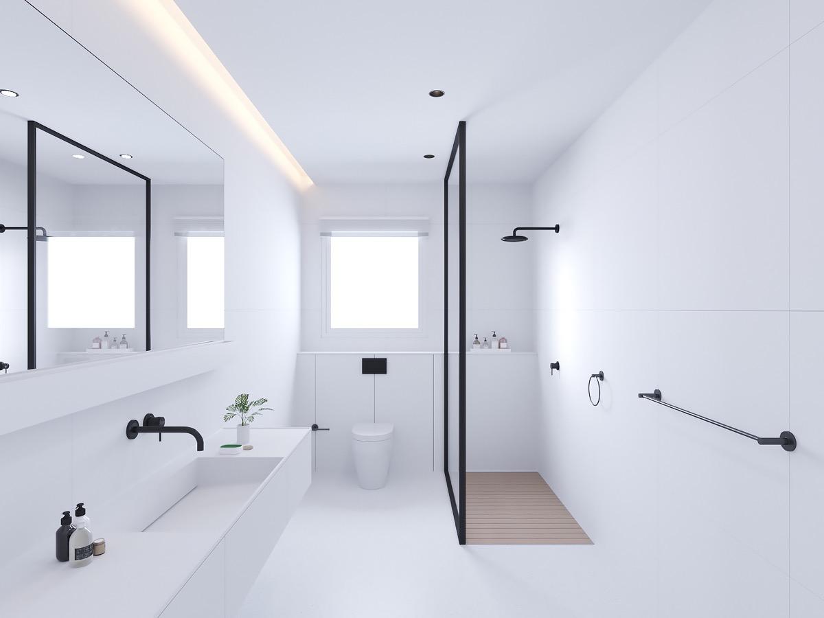 Mẫu thiết kế phòng tắm tối giản, hiện đại với hai tông màu tương phản trắng-đen