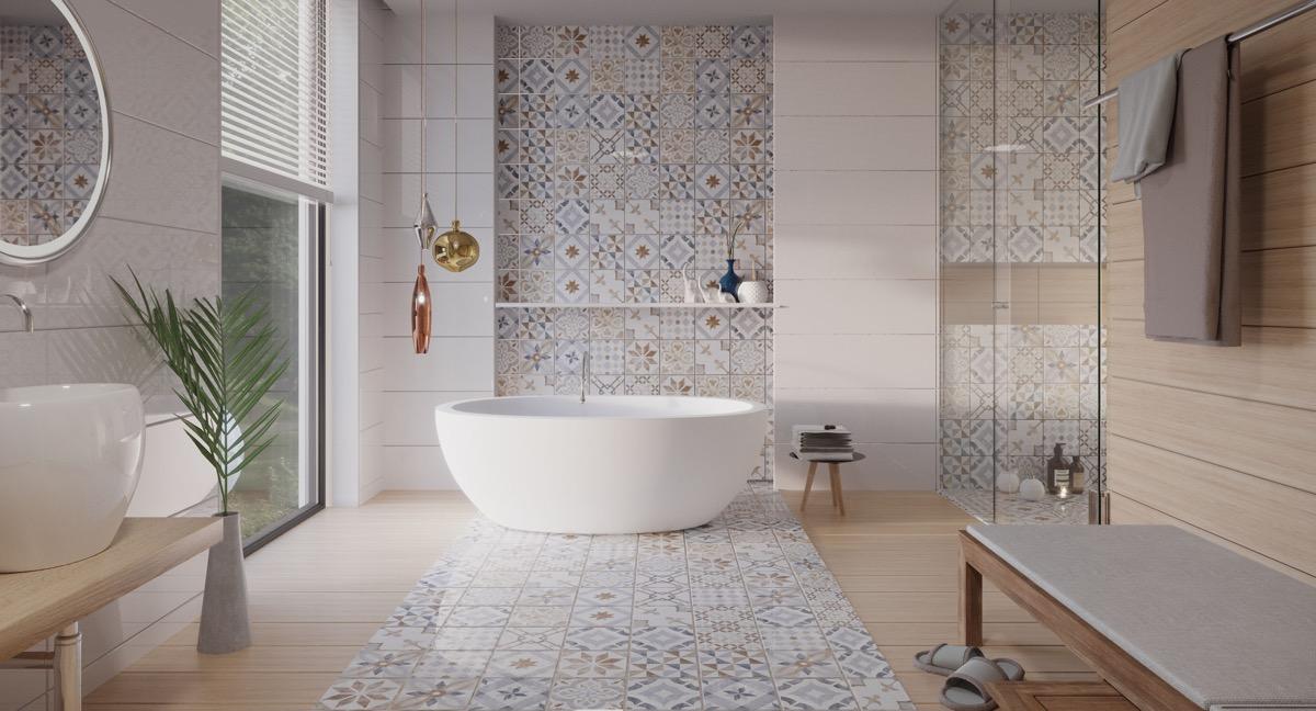 Thiết kế phòng tắm với gạch bông họa tiết đa dạng, bắt mắt