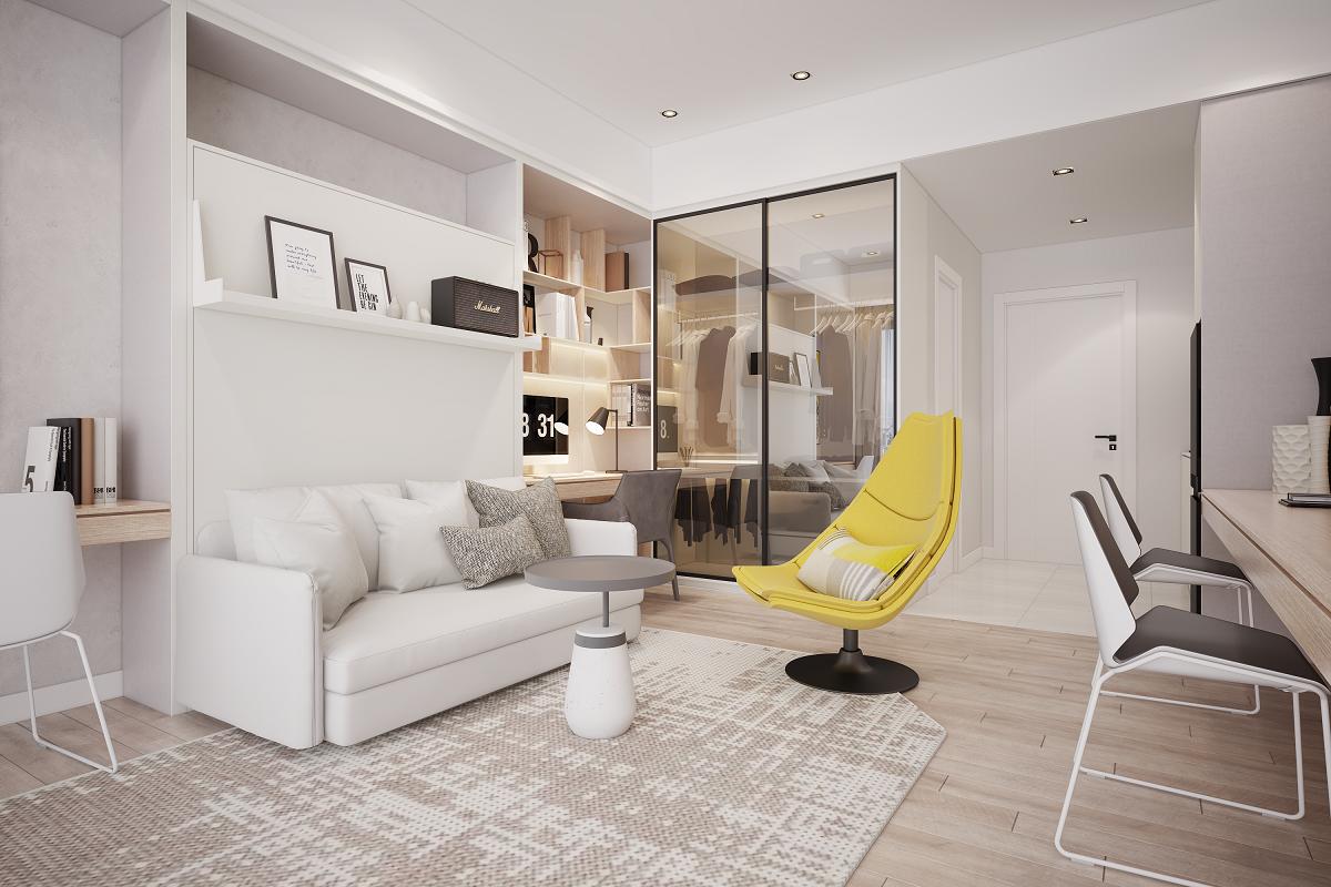 Phòng khách có tủ kệ, sofa trắng, ghế rời màu vàng