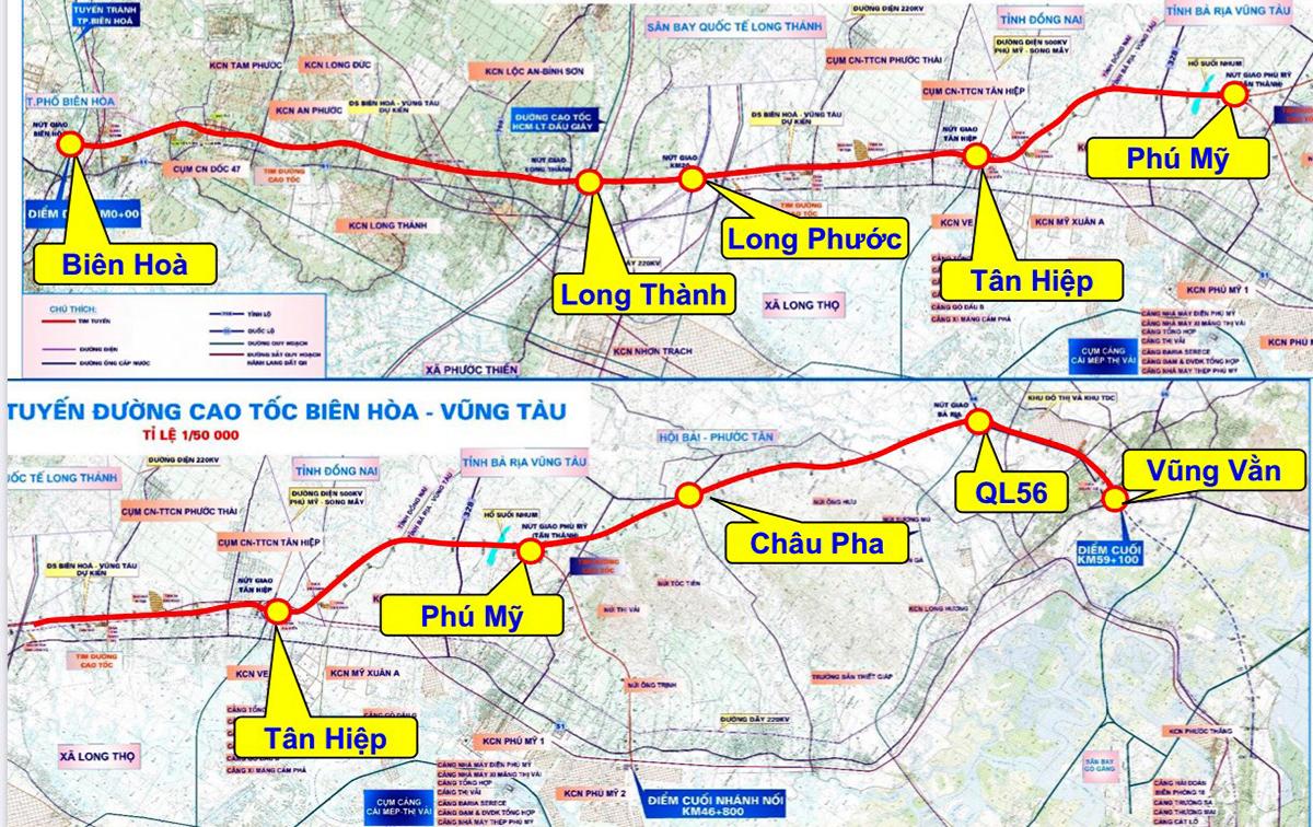 bản đồ có đường chỉ đỏ thể hiện hướng tuyến cao tốc