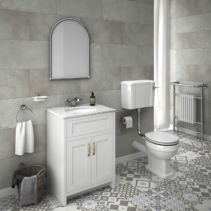 nhà tắm lát nền gạch bông đẹp