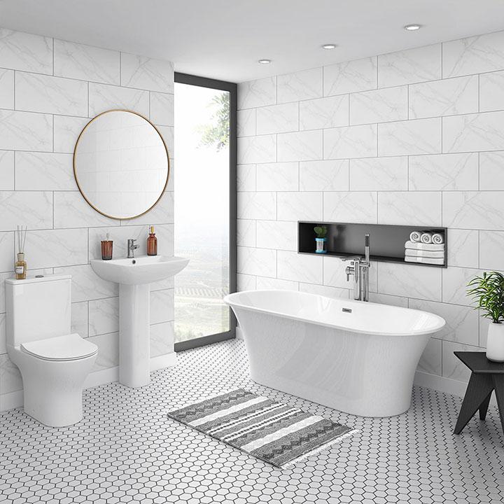 Một mẫu phòng tắm lát gạch lục giác với tông trắng chủ đạo