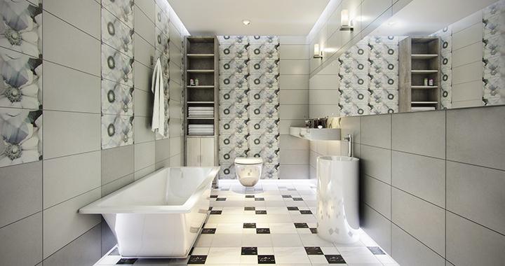 phòng tắm rộng rãi, nổi bật với mẫu gạch lát sàn